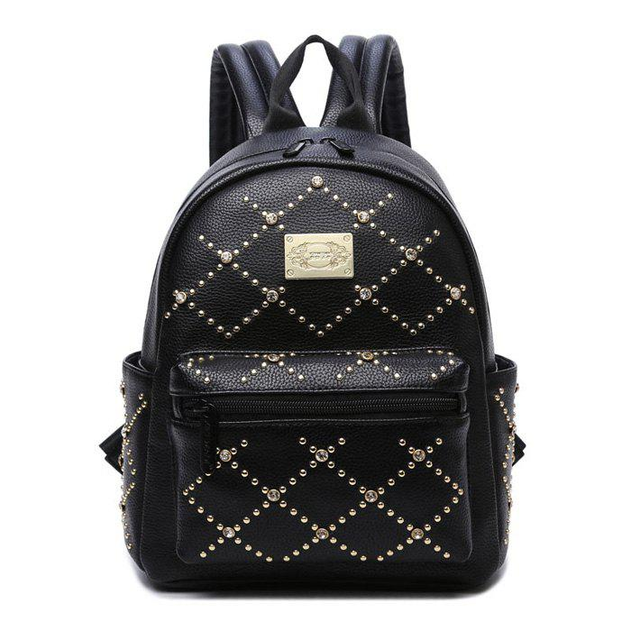 Rhinestone Rivet Fuax Leather Backpack - BLACK