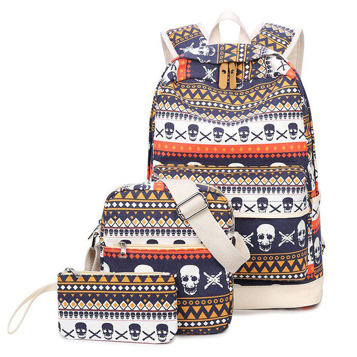 Canvas Skull and Tribal Print Backpack Set - COLORMIX