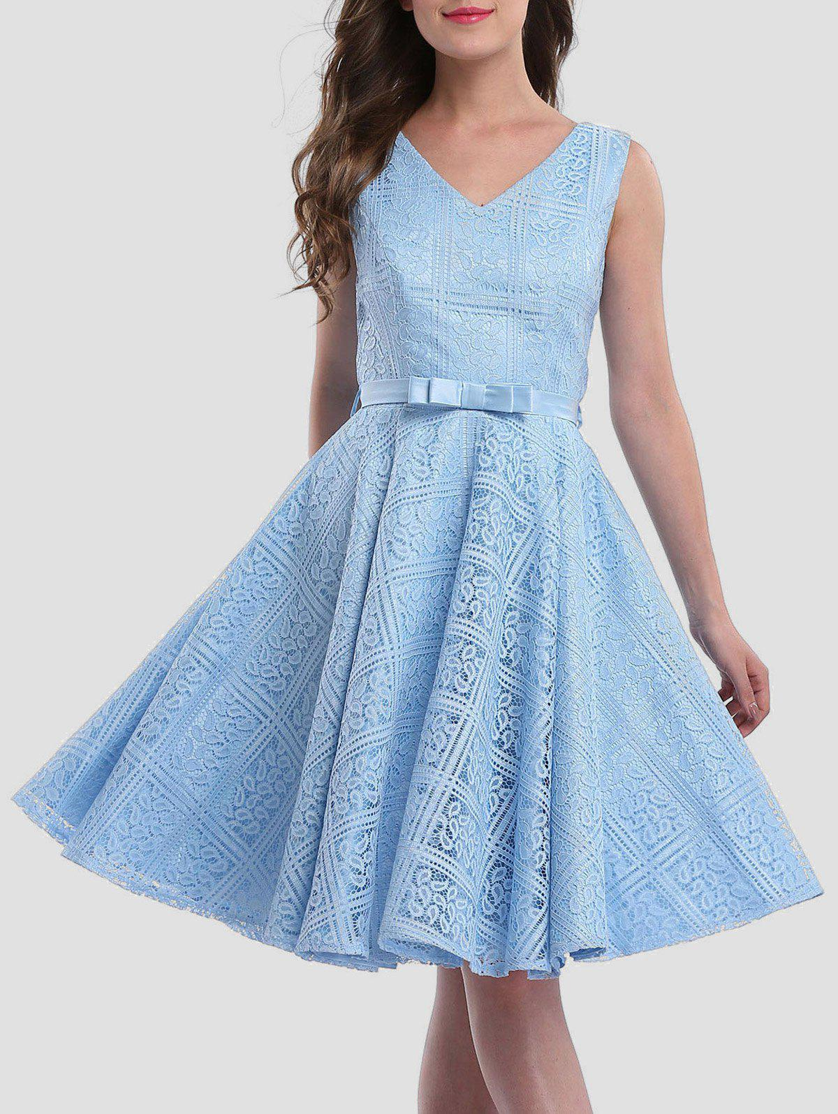 2018 Lace Sleeveless Wedding Guest Knee Length Dress ICE BLUE M In ...