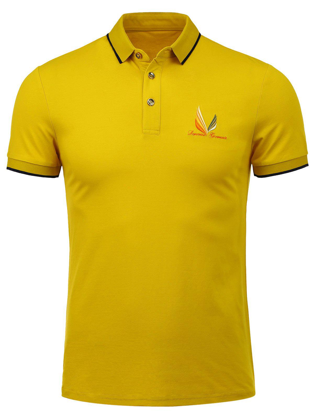 2018 half button embroidered polo shirt ginger s in t for Polo shirts with embroidery