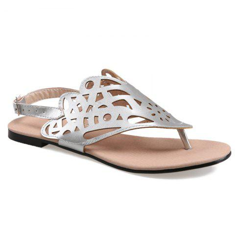 Faux Leather Hollow Out Sandals - SILVER 38
