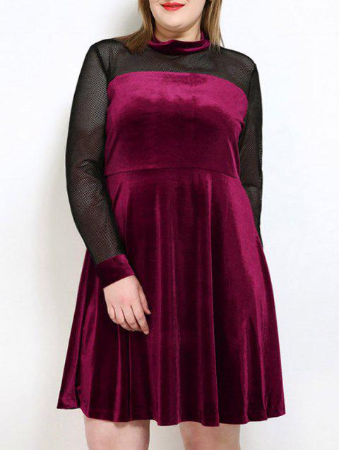 4362d37ff5 2019 A Line Plus Size Velvet Party Dress In WINE RED 5XL