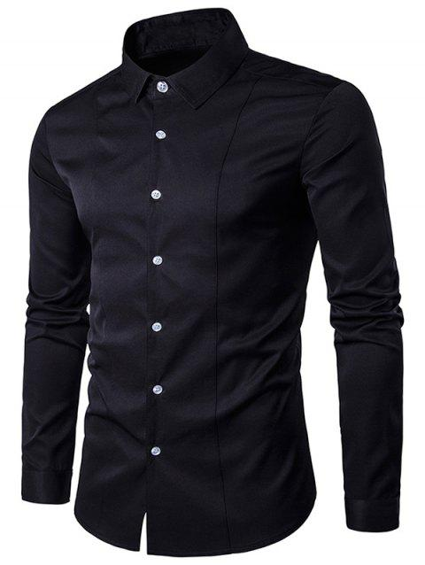 Long Sleeve Slimming Shirt - BLACK L
