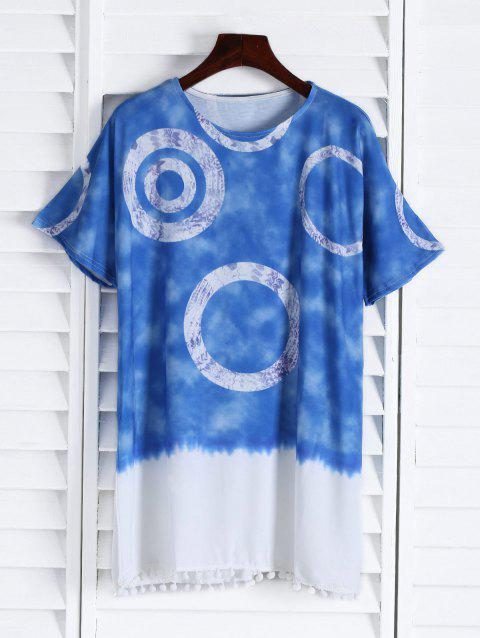Casual Round Neck Short Sleeve Color Block Women's Straight Dress - BLUE M