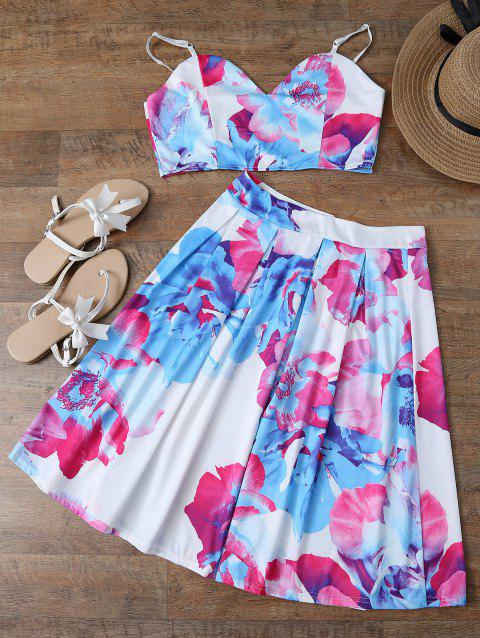 Spaghetti Strap Floral Crop Top and Skirt - WHITE L
