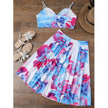 Spaghetti Strap Floral Crop Top and Skirt - L L