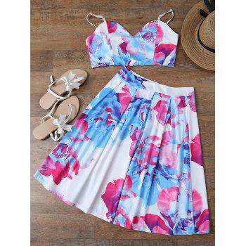 Spaghetti Strap Floral Crop Top and Skirt