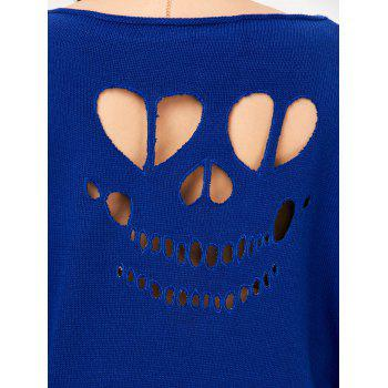 Plus Size Ribbed Cut Out Sweater - BLUE BLUE