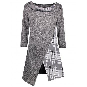 Asymmetric Plaid Trim Tunic Top