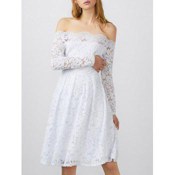 Boat Neck Lace Long Sleeve Dress