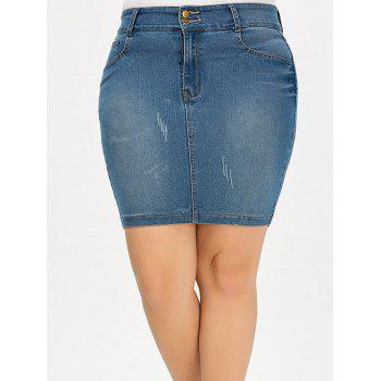 Denim Mini Plus Size Skirt