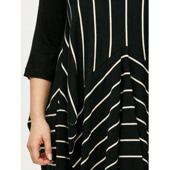 Stripe Asymmetric Plus Size Dress - Rayure 3XL
