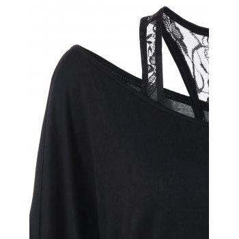 Skew Collar Lace Trim T-Shirt - BLACK BLACK