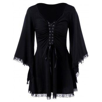 Bell Sleeve Lace Up T-Shirt