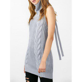 Self Tie Cable Knit Open Back Knitwear