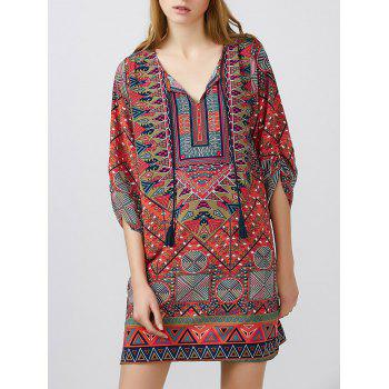 Printed Mini Dress With Tassels