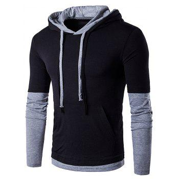Hooded Panel Faux Twinset Drawstring T-Shirt