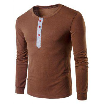 Buttons Panel Long Sleeve T-Shirt