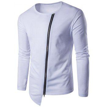Long Sleeve Oblique Zip Up Design T-Shirt