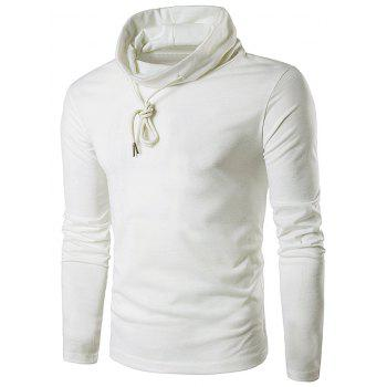 Drawstring Cowl Neck Long Sleeve T-Shirt