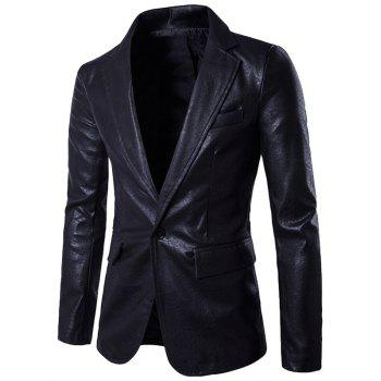 PU Leather Lapel One Button Blazer