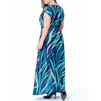 Plus Size Wave Printed V Neck Maxi Dress - XL XL