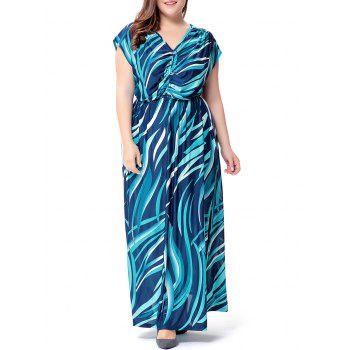 Plus Size Wave Printed V Neck Maxi Dress - LAKE BLUE 2XL