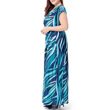 Plus Size Wave Printed V Neck Maxi Dress - 2XL 2XL