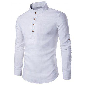 Stand Collar Cotton Linen Long Sleeve Shirt
