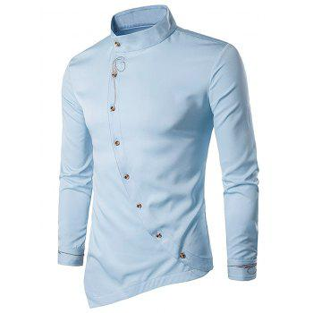 Embroidered Oblique Button Design Shirt