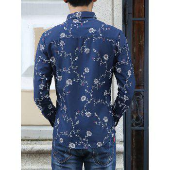 Long Sleeve Floral Print Casual Shirt - 3XL 3XL