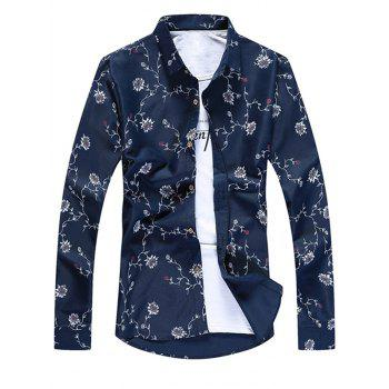 Long Sleeve Floral Print Casual Shirt - PURPLISH BLUE 3XL