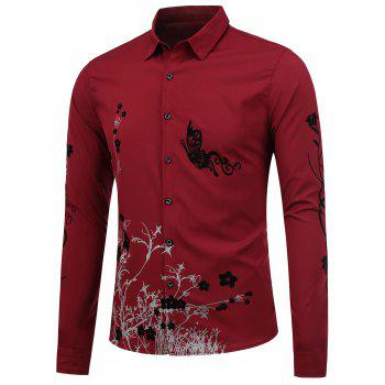 Slim Fit Butterfly Floral Shirt - WINE RED XL