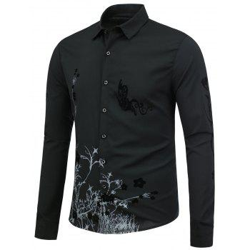 Slim Fit Butterfly Floral Shirt - BLACK L