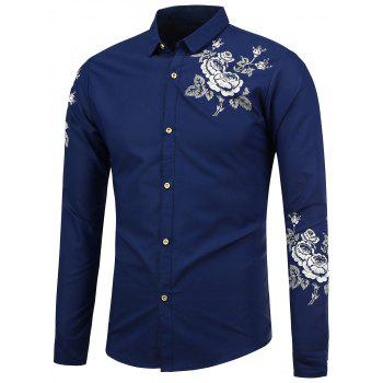 Long Sleeve Flower Print Shirt - SAPPHIRE BLUE 2XL
