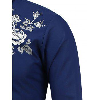 Long Sleeve Flower Print Shirt - 3XL 3XL