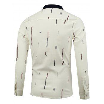 Color Block Printed Long Sleeve Shirt - WHITE WHITE