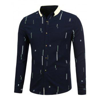 Color Block Printed Long Sleeve Shirt - SAPPHIRE BLUE SAPPHIRE BLUE