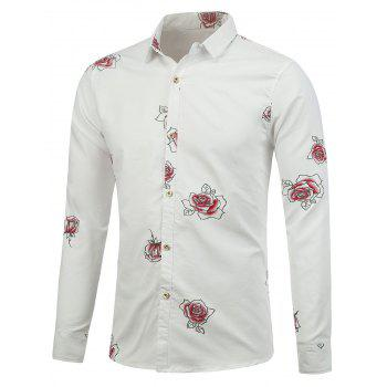 Long Sleeve Shirt with Flower Pattern - WHITE M
