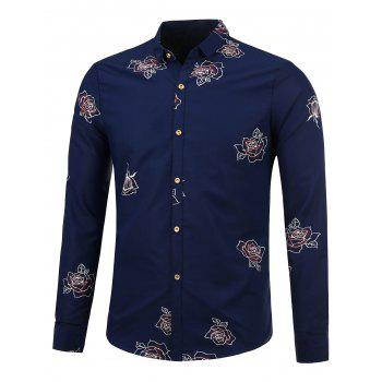 Long Sleeve Shirt with Flower Pattern - SAPPHIRE BLUE 2XL