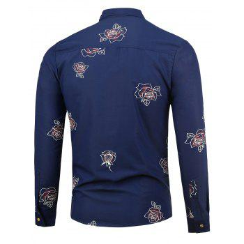 Long Sleeve Shirt with Flower Pattern - 2XL 2XL