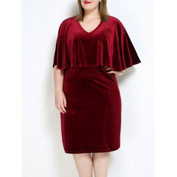 Velvet Plus Size Cape Dress - WINE RED 7XL