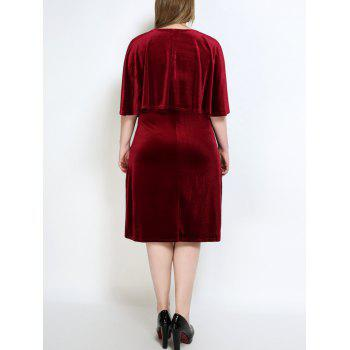 Velvet Plus Size Cape Robe - Rouge vineux 7XL