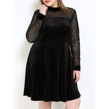 Velvet A Line Plus Size Dress - BLACK 6XL