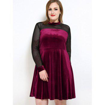 Velvet A Line Plus Size Dress - Rouge vineux 7XL