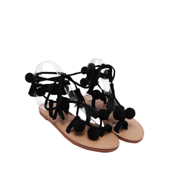 Tassels Pompon Lace Up Sandals