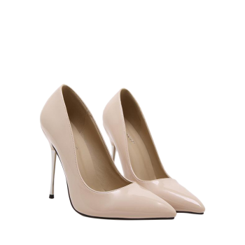 Pointy Patent Leather Stiletto Heel Pumps - APRICOT 38