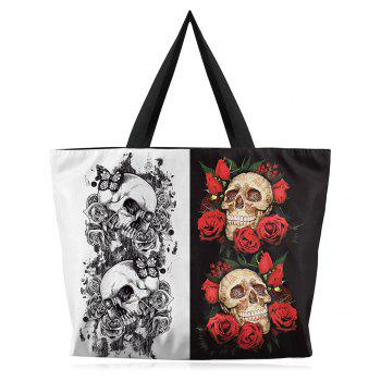 Canvas Skull and Rose Printed Shoulder Bag
