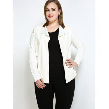 Faux Leather Open Front Plus Size Jacket