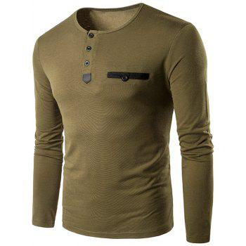Buttons Edging Crew Neck Long Sleeve T-Shirt